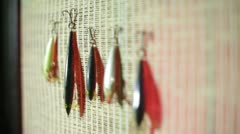 Fish hooks fishing Stock Footage