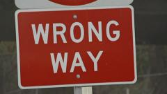Wrong Way Sign - tilted, rack focus Stock Footage
