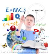 science education school boy writing - stock photo