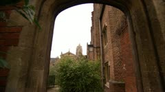Passing Through Arch, Cambridge University HD Video Stock Footage