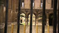 Courtyard Through Gate, Cambridge University HD Video Stock Footage