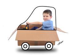 boy driving box car on white - stock photo