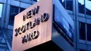 Stock Video Footage of Spinning Sign Outisde New Scotland Yard HD Video