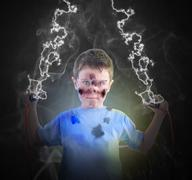 electricity science boy with plugs - stock photo