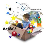 Science boy in space box with stars Stock Photos