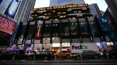 Stock market sign building New York city - stock footage