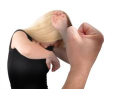 Abusive hand fist with woman on white Stock Photos