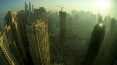 Jumeirah at sunrise a Modern city development, Dubai Marina, UAE, Time Lapse Stock Footage
