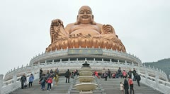 Tourists visit the buddha sculpture temple,time lapse. Stock Footage
