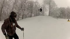 Ski jump and epic crash Stock Footage