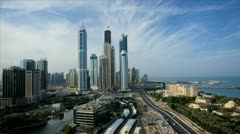 Elevated time lapse view of Media and Internet city, Dubai, UAE - stock footage
