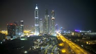Stock Video Footage of Elevated illuminated night view of Media and Internet city, Dubai, UAE, Time