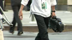 Covering an event with News Camera Camera Crew - stock footage