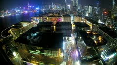 Hong Kong time lapse illuminated night view Victoria Harbour, Far East, Asia - stock footage