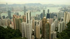 Central city skyline skyscraper view from Victoria Peak, Hong Kong, Asia, Time - stock footage