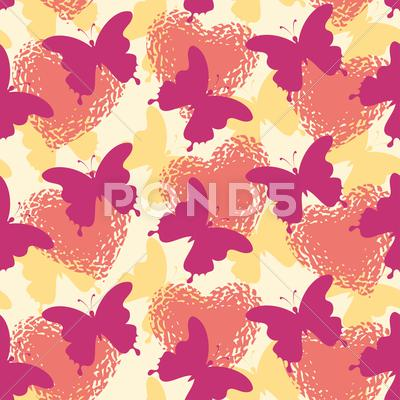 Stock Illustration of Seamless background, butterflies and hearts