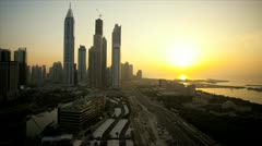 Elevated sunset time lapse view of Media and Internet city, Dubai, UAE - stock footage