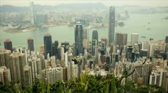 Central city skyline skyscraper view from Victoria Peak, Hong Kong, Asia, Time Stock Footage