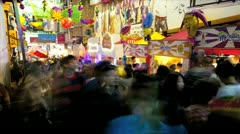 Market traders selling products on the road, Asia, Time Lapse Stock Footage
