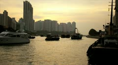 Victoria Harbour sunset nautical vessels, Asia, Time lapse Stock Footage