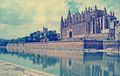 la seu cathedral in vintage tone - stock photo