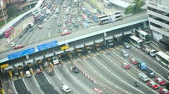 Elevated time lapse Kowloon Toll road Tsim Sha Tsui East, Asia Stock Footage