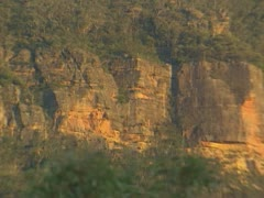 Blue Mountains  pan - mountain ridge in  Megalong Valley - evening 02 Stock Footage