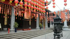 Stock Video Footage of landtern decorated vintage chinese buddhism temple