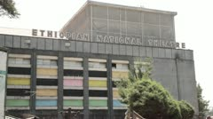 Ethiopian national theatre, statue - stock footage