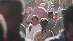 Crowded market, men and women of Ethiopia, Addis Ababa, Open Air Market, Africa Stock Footage