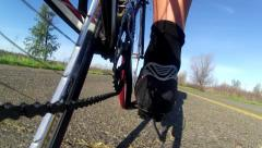 Stock Video Footage of CYCLIST CRASHES BIKE WITH LOW ANGLE POV CAMERA 1080 HD VIDEO