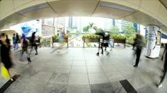 City centre elevated walkway Gloucester Road, HK Island, Asia, Time Lapse Stock Footage