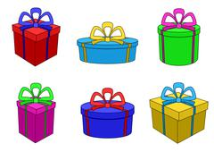 boxes multi-coloured, different forms - stock illustration