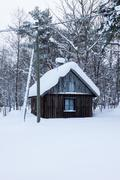 small wooden house covered by snow - stock photo