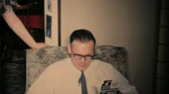Man Puts Shaving Cream On His Nose At Christmas-1960 Vintage 8mm film Stock Footage