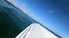 Seascape view from luxury motor vessel downtown Miami city, USA - stock footage