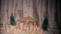 Christmas Nativity Scene-1957 Vintage 8mm film - stock footage