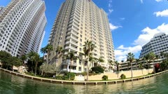 Waterfront Miami vacation resort hotels and condominiums, Miami, USA Stock Footage