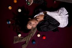 girl on a snooker table - stock photo