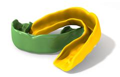 Gum guard green and gold perspective Stock Illustration