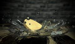 Coin hitting water splash Stock Illustration