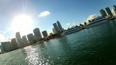 Miami city waterfront view of city skyscrapers, Florida, USA Stock Footage