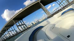 Bay view of the many elevated overseas causeways within Miami city, Florida, USA Stock Footage