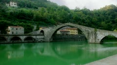 Ponte Della Maddalena in Lucca Tuscany Italy - 25FPS PAL Stock Footage