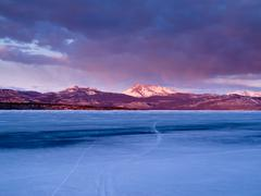 mt. laurier and lake laberge, yukon territory, canada - stock photo