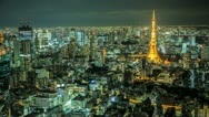 Stock Video Footage of Tokyo skyline time lapse at night with the Tokyo tower illuminated
