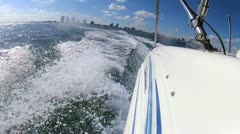 Nautical vessel at speed Biscayne Bay Miami, USA - stock footage