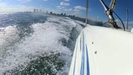 Stock Video Footage of Nautical vessel at speed Biscayne Bay Miami, USA