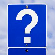 Road sign: question mark Stock Photos