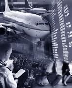 collage of airport - stock illustration